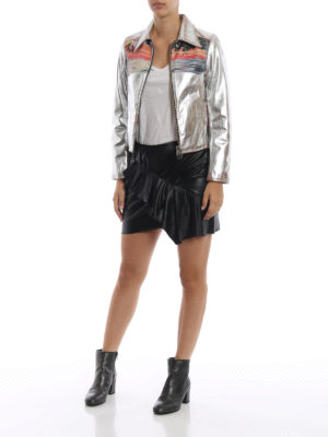 GOLDEN GOOSE: giacche in pelle online - Giacca Mira in pelle argento con tramonto