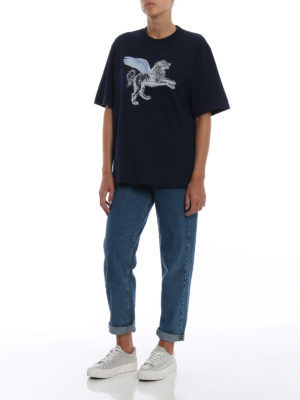 GOLDEN GOOSE: t-shirt online - T-shirt Leo con stampa e strass
