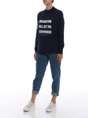 GOLDEN GOOSE: t-shirt online - T-shirt blu con manica lunga