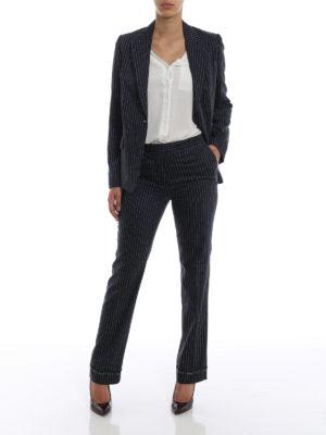 GOLDEN GOOSE: Pantaloni sartoriali online - Pantaloni Venice in lana e seta gessato