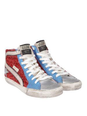 GOLDEN GOOSE: sneakers online - Sneaker Slide con lurex rosso
