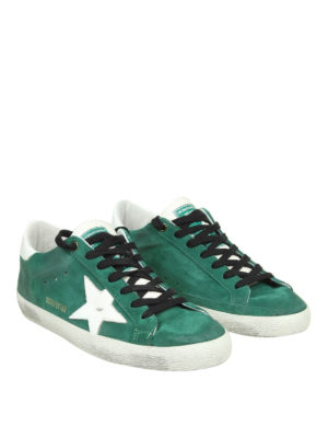 GOLDEN GOOSE: sneakers online - Sneaker Superstar in camoscio verde