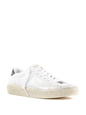 GOLDEN GOOSE: sneakers online - Sneaker Tennis in pelle glitterata argento