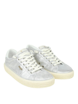 GOLDEN GOOSE: sneakers online - Sneaker Tennis in pelle metallizzata argento