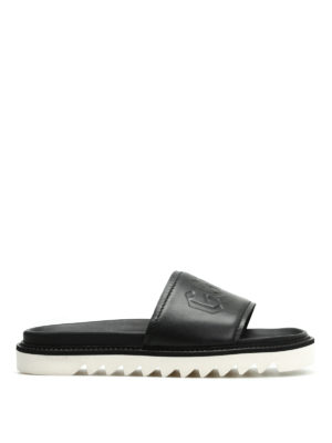 Golden Goose: sandals - Embossed logo leather slide sandals