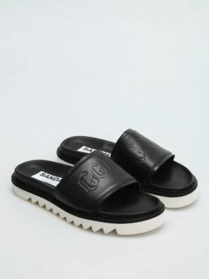 Golden Goose: sandals online - Embossed logo leather slide sandals