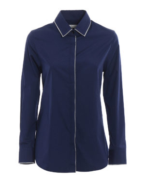 Golden Goose: shirts - Navy blue cotton poplin shirt