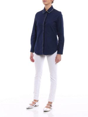 Golden Goose: shirts online - Navy blue cotton poplin shirt