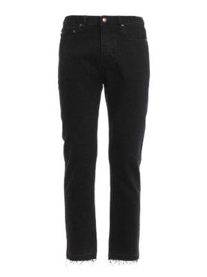Golden Goose: straight leg jeans - Back leather pocket denim jeans