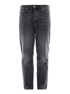 Golden Goose: straight leg jeans - Black denim five pocket jeans