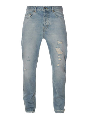 Golden Goose: straight leg jeans - Golden Happy used effect jeans