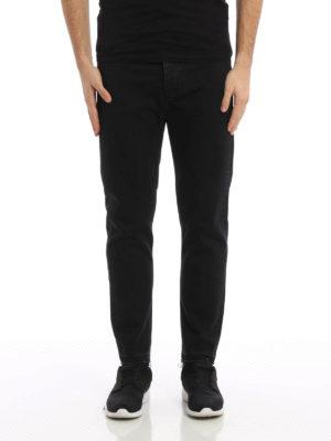 Golden Goose: straight leg jeans online - Back leather pocket denim jeans