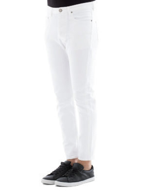 Golden Goose: straight leg jeans online - White cotton denim jeans
