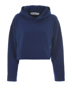 Golden Goose: Sweatshirts & Sweaters - Cropped hoodie with rear logo print