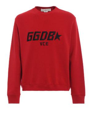 GOLDEN GOOSE: Felpe e maglie - Felpa Luke rossa con logo ricamato
