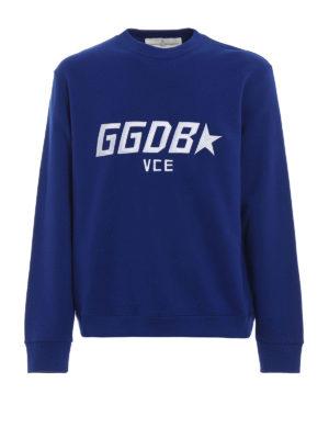 GOLDEN GOOSE: Felpe e maglie - Felpa Luke bluette con logo ricamato