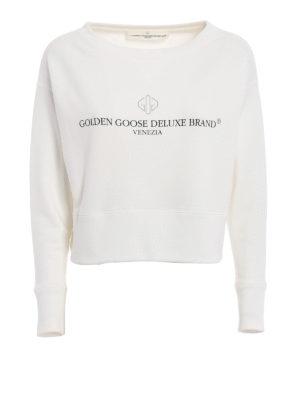 Golden Goose: Sweatshirts & Sweaters - Sissi crop white sweatshirt