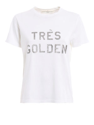 Golden Goose: t-shirts - Cindy glittered print T-shirt
