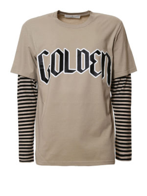 Golden Goose: t-shirts - Double T-shirt with maxi logo