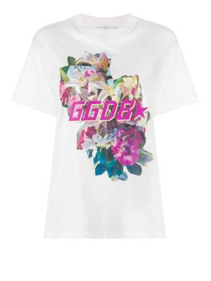 GOLDEN GOOSE: t-shirt - T-shirt Golden con stampa fiori