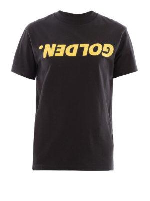 Golden Goose: t-shirts - Golden print black Tee