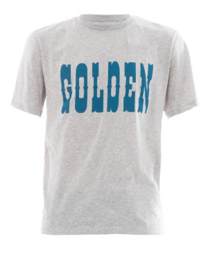 Golden Goose: t-shirts - Golden print grey T-shirt