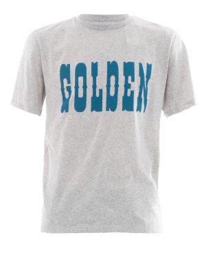 Golden Goose: t-shirts - Golden print grey T-shirt