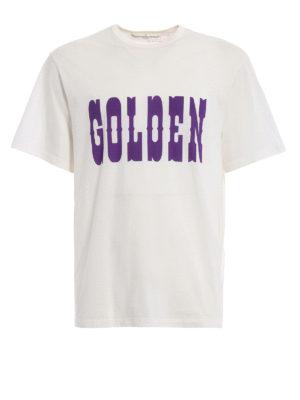 Golden Goose: t-shirts - Golden print white T-shirt