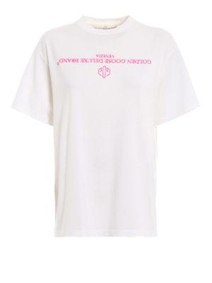 GOLDEN GOOSE: t-shirt - T-shirt Golden con logo capovolto