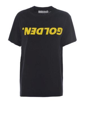 Golden Goose: t-shirts - Golden T-shirt with yellow print