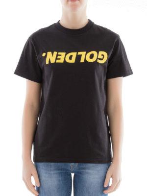 Golden Goose: t-shirts online - Golden print black Tee