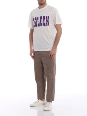Golden Goose: t-shirts online - Golden print white T-shirt