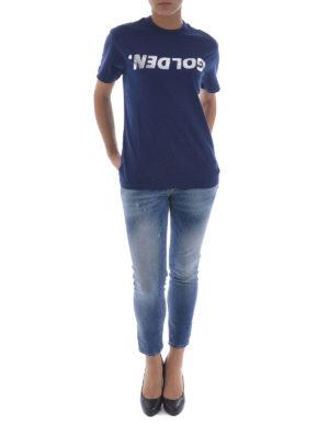 Golden Goose: t-shirts online - Metallic logo print T-shirt