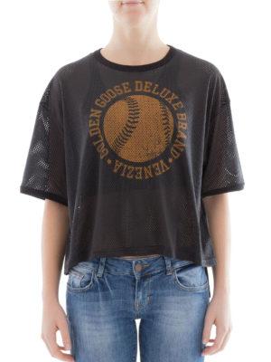 Golden Goose: t-shirts online - Openwork black cotton T-shirt
