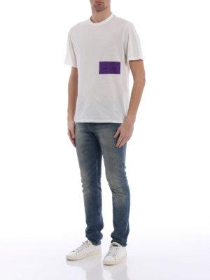 Golden Goose: t-shirts online - Purple logo print cotton T-shirt