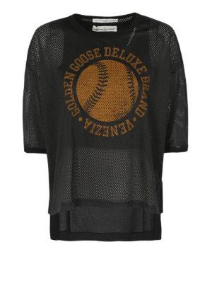 Golden Goose: t-shirts - Openwork black cotton T-shirt