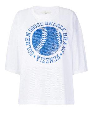 Golden Goose: t-shirts - Openwork cotton T-shirt