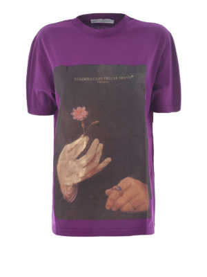 Golden Goose: t-shirts - Painting print cotton T-shirt