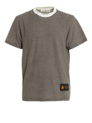 Golden Goose: t-shirts - Striped cotton T-shirt