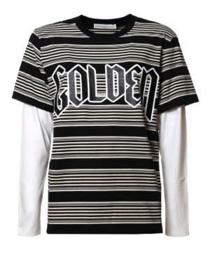 Golden Goose: t-shirts - Striped T-shirt with maxi logo