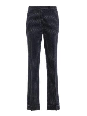GOLDEN GOOSE: Pantaloni sartoriali - Pantaloni Venice in lana e seta gessato