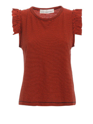 Golden Goose: Tops & Tank tops - Frilled striped tank top
