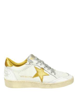 GOLDEN GOOSE: sneakers - Ball Star con inserti in glitter dorato