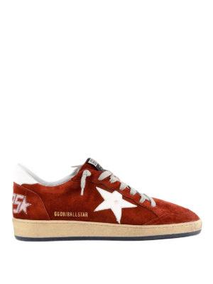 GOLDEN GOOSE: sneakers - Sneaker Ballstar in suede con logo dietro