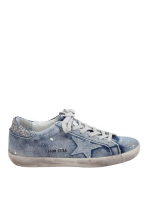 Golden Goose: trainers - Denim-leather Super Star sneakers
