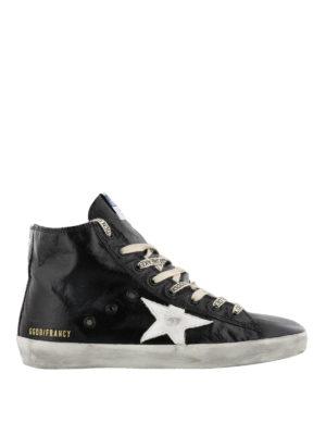 GOLDEN GOOSE: sneakers - Sneaker Francy in pelle nera con lacci logati