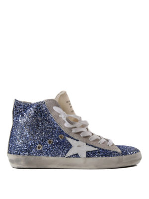 Golden Goose: trainers - Francy blue glitter hi-top sneakers