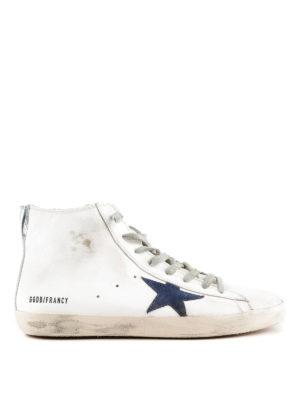 GOLDEN GOOSE: sneakers - Sneaker Francy in pelle con stella blu