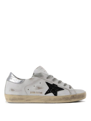 Golden Goose: trainers - Glitter patch Superstar sneakers