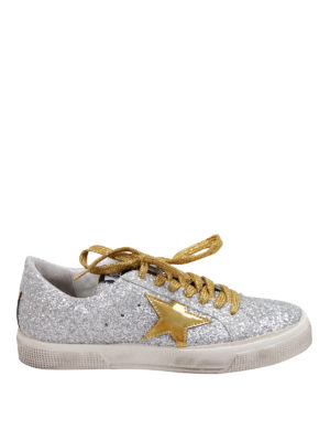 Golden Goose: trainers - Glittered leather sneakers